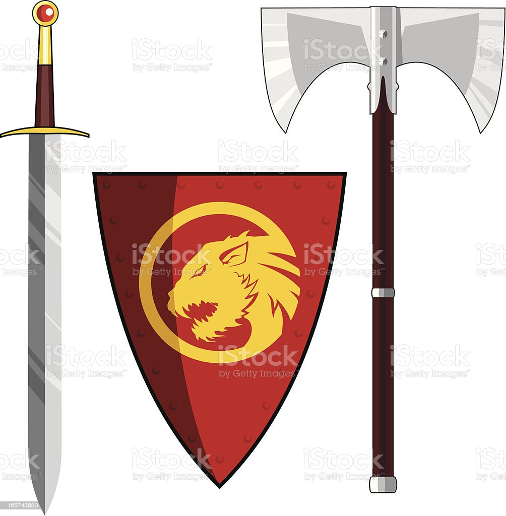 Axe, sword and shield royalty-free stock vector art