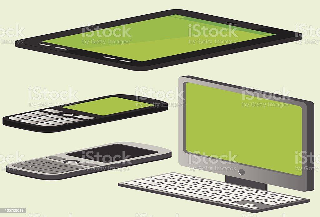 Axonometric devices: computer, tablet, phone vector art illustration