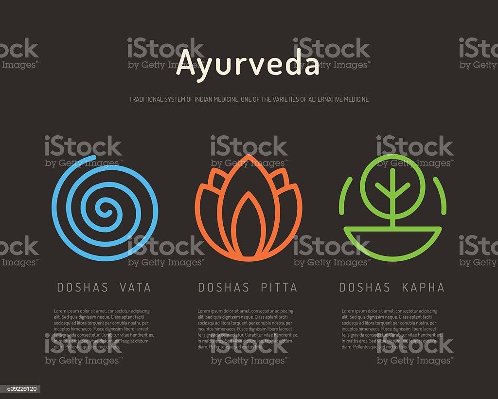 Ayurveda body types 01 vector art illustration