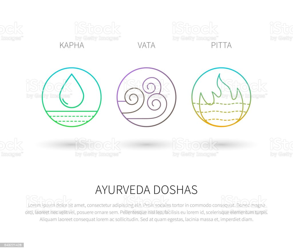 Ayurveda doshas vector thin icons. vector art illustration