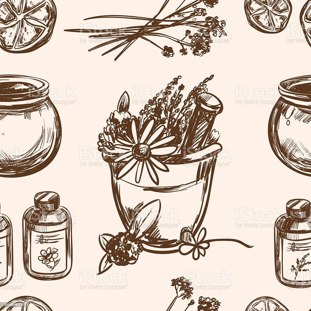 Ayurveda vector Hand drawn seamless pattern vector art illustration