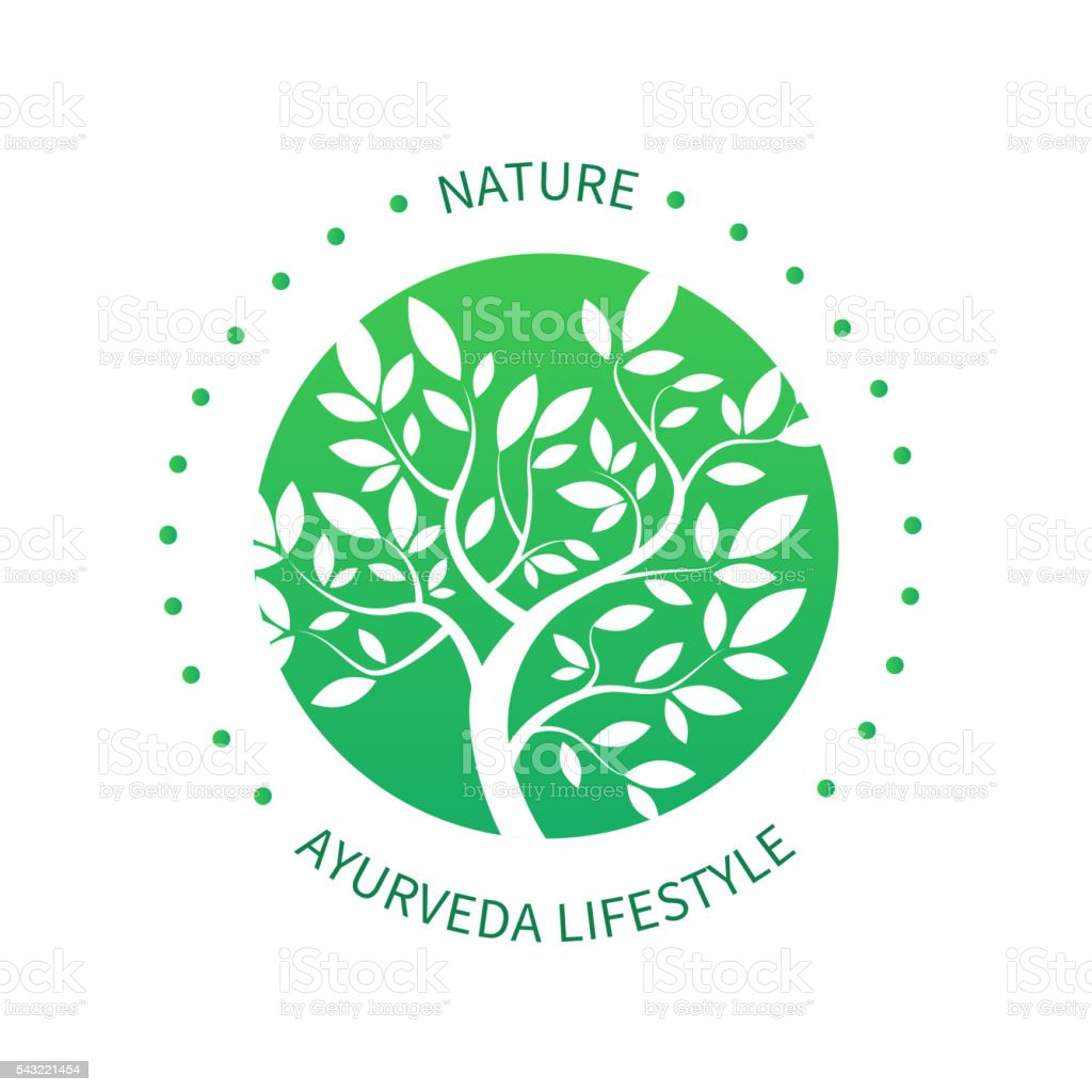 Ayurvedic vector tree icon, alternative medicine logo vector art illustration
