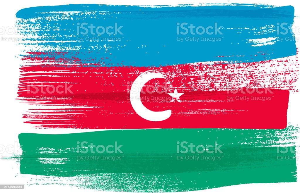 Azerbaijan colorful brush strokes painted flag vector art illustration