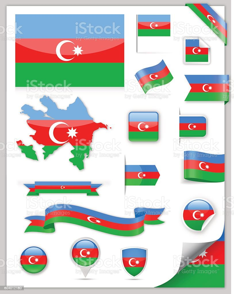 Azerbaijan Flag Set - Vector Collection vector art illustration