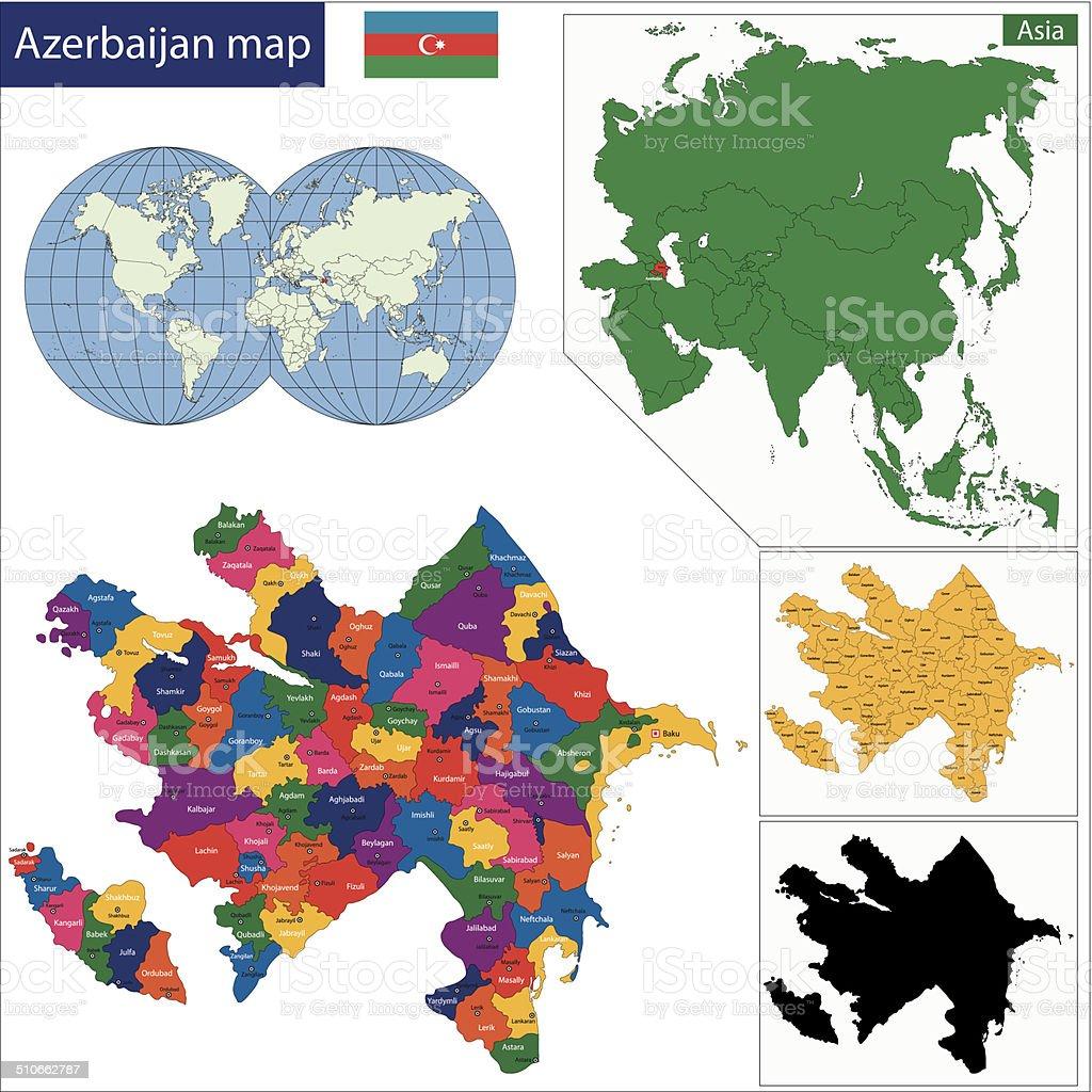 Azerbaijan map vector art illustration