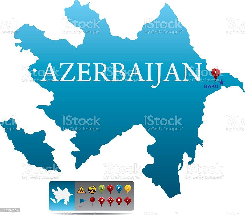 Azerbaijan map with navigation icons royalty-free stock vector art