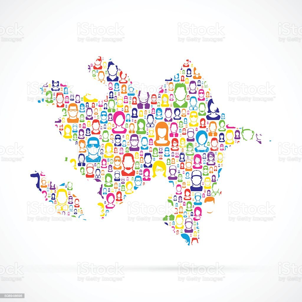 Azerbaijan Map with People vector art illustration