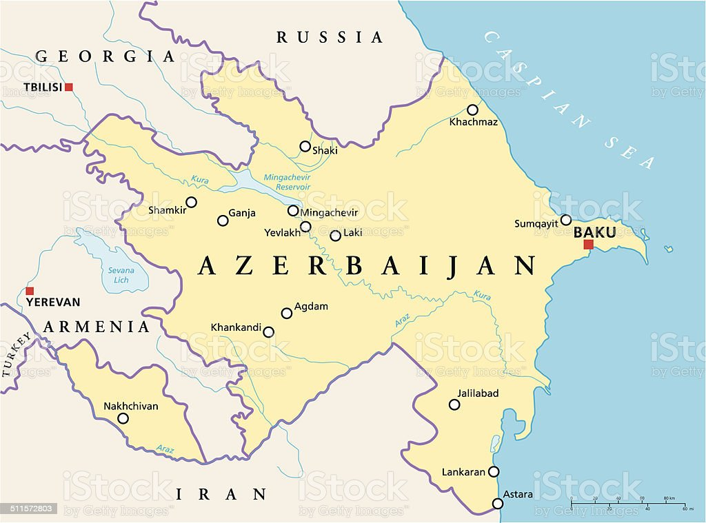 Azerbaijan Political Map vector art illustration