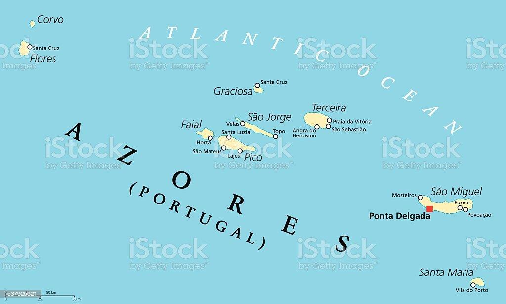 Azores Political Map vector art illustration