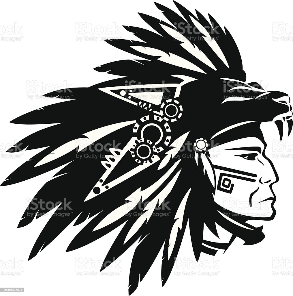 aztec warrior clip art  vector images   illustrations istock indian chief clip art black and white Indian Chief Clip Art Black and White