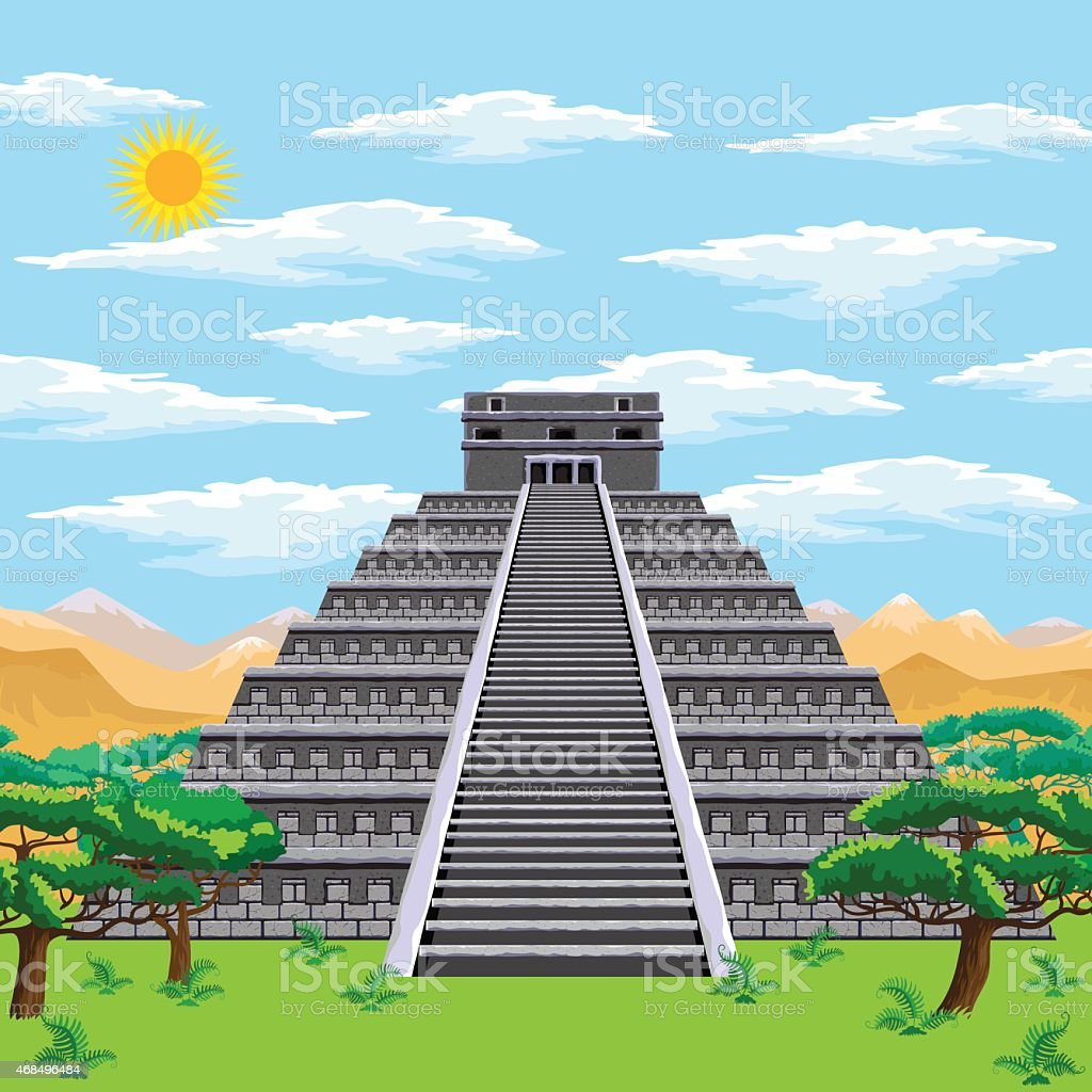 Aztec pyramid vector art illustration