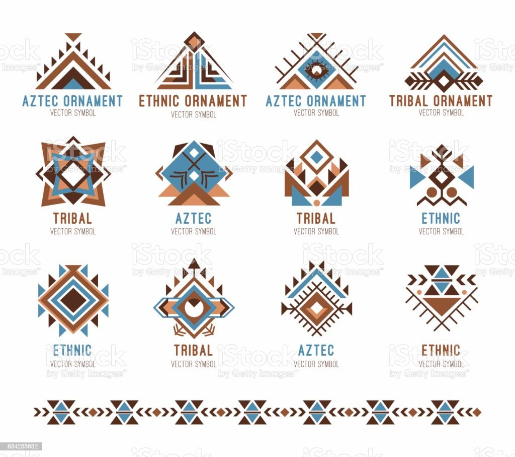 Aztec tribal ethnic ornaments set vector art illustration