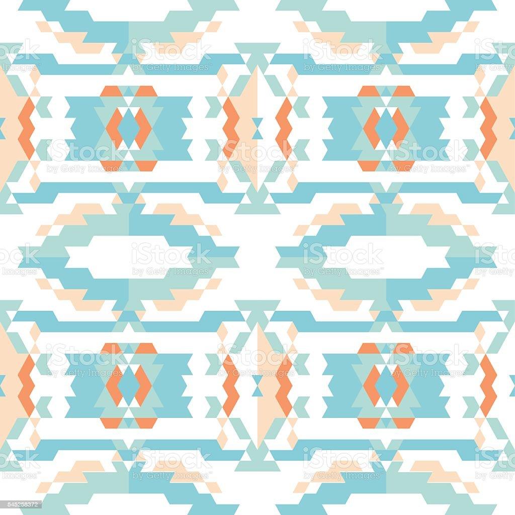 Aztec tribal seamless sky blue pattern vector art illustration