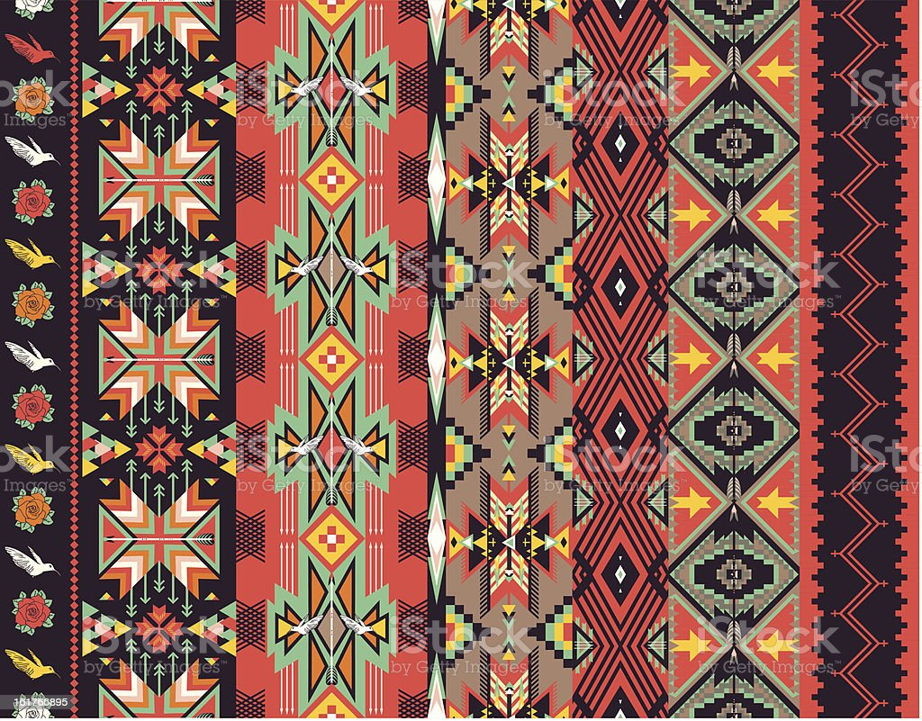 Aztecs seamless pattern on hot color vector art illustration