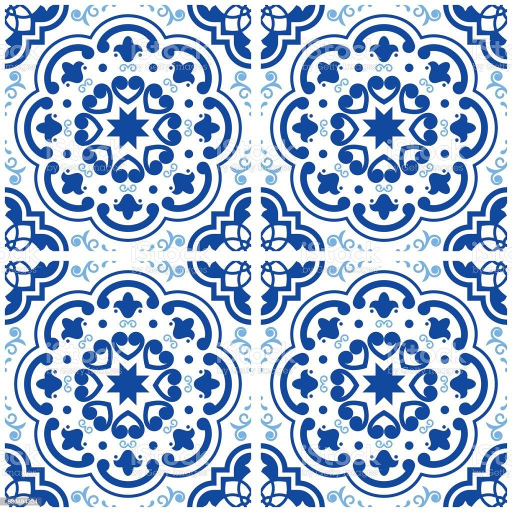 azulejos portuguese tile floor pattern lisbon seamless indigo blue