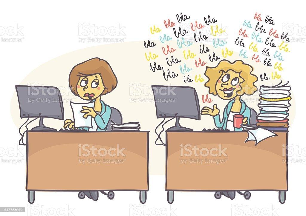 Babbling coworker vector art illustration