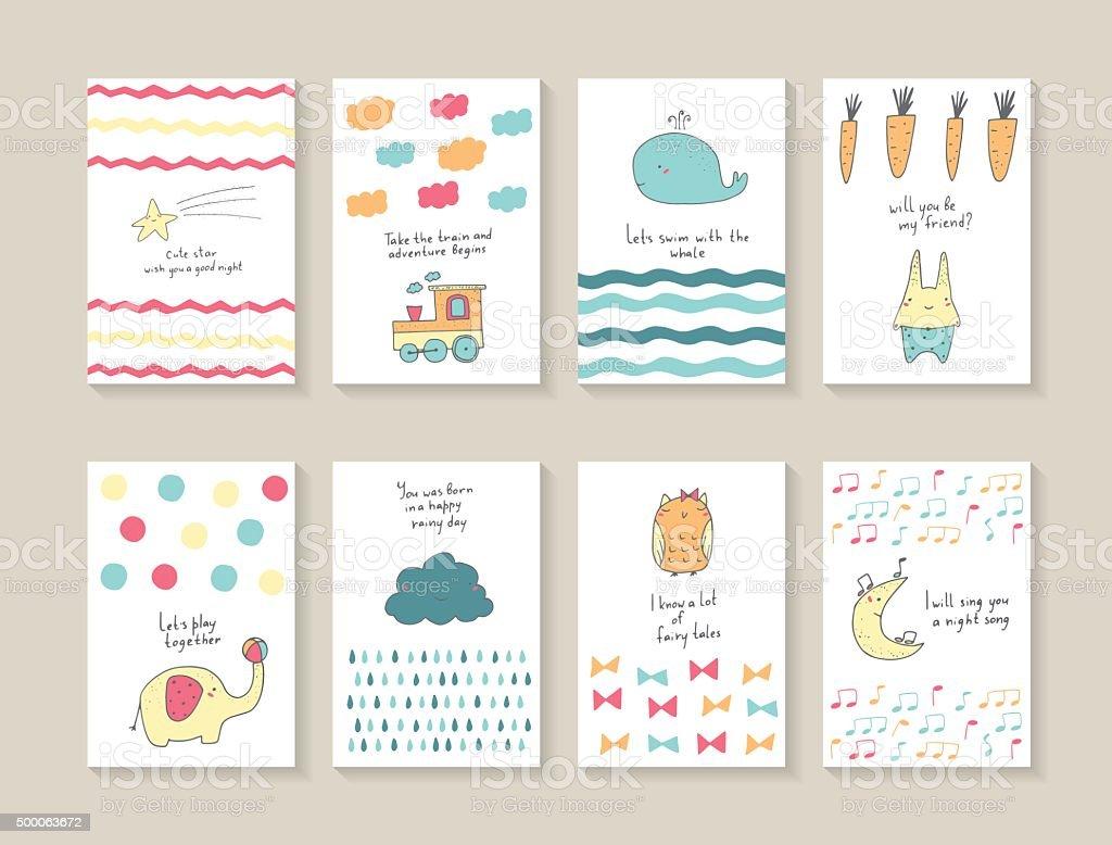 Babe shower postcards vector art illustration