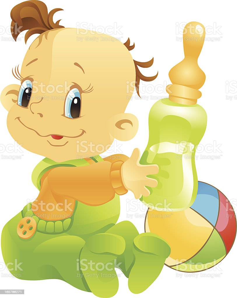 babe with a pacifier royalty-free stock vector art