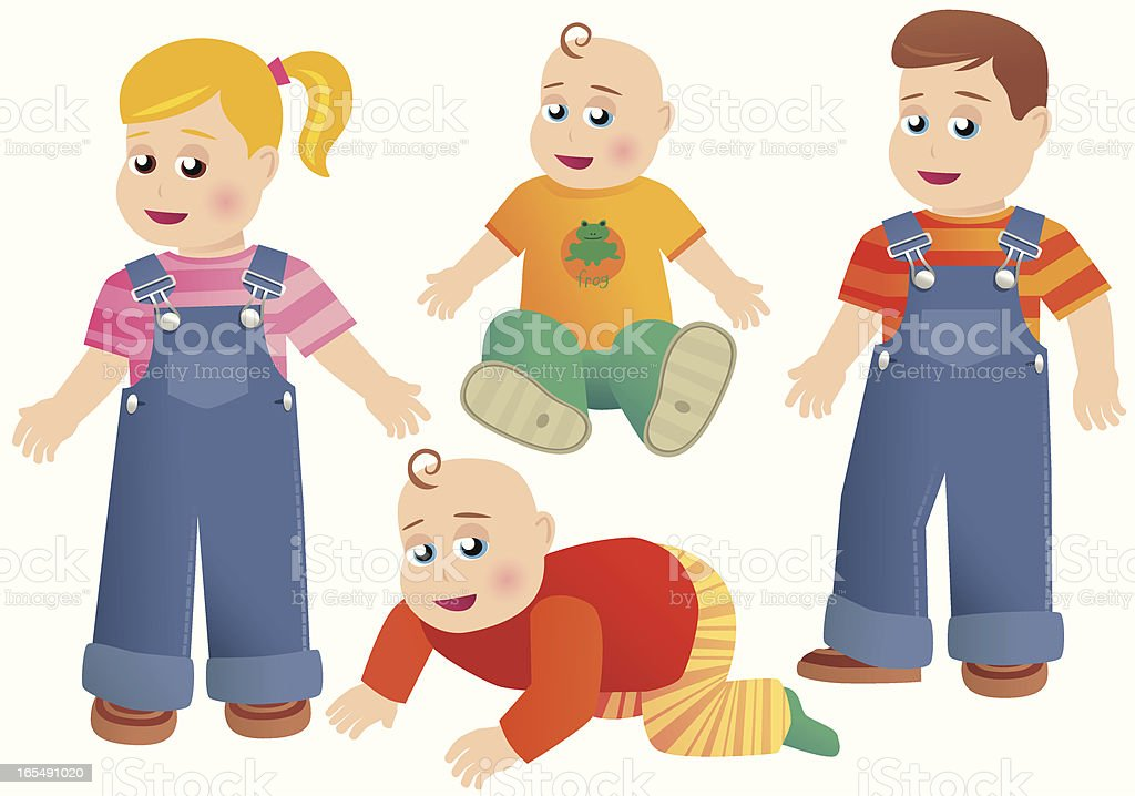 Babies and toddlers royalty-free stock vector art
