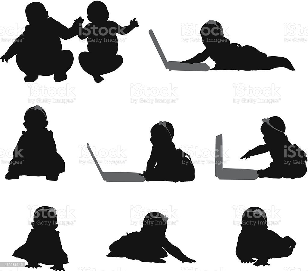 Babies crawling around and playing on laptops vector art illustration