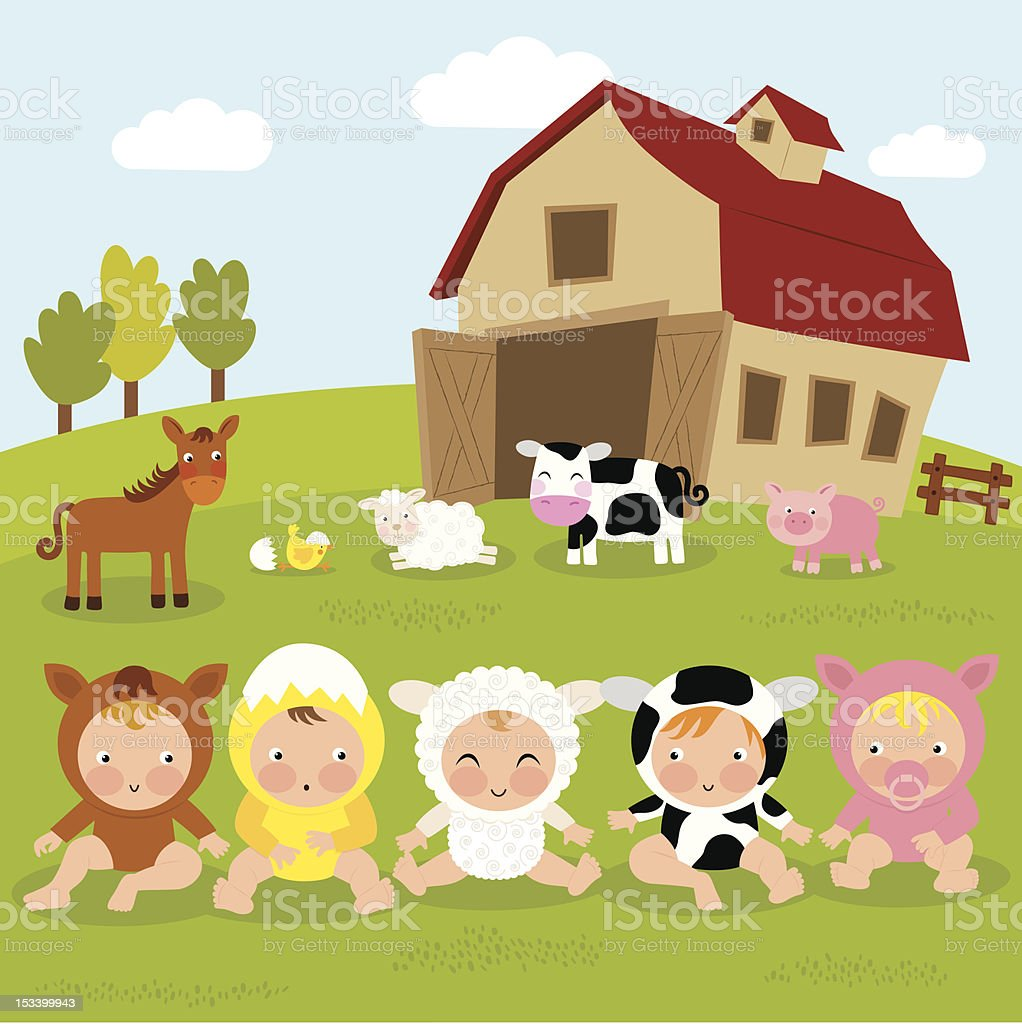 Babies in the Farm vector art illustration