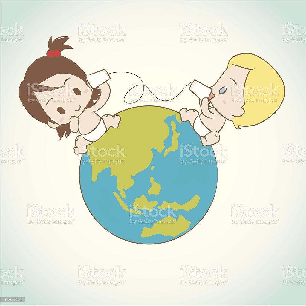 Babies international communication. vector art illustration