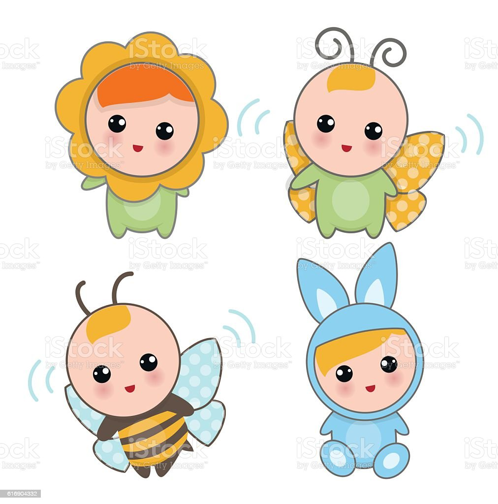 Babies Of Animal Suits vector art illustration
