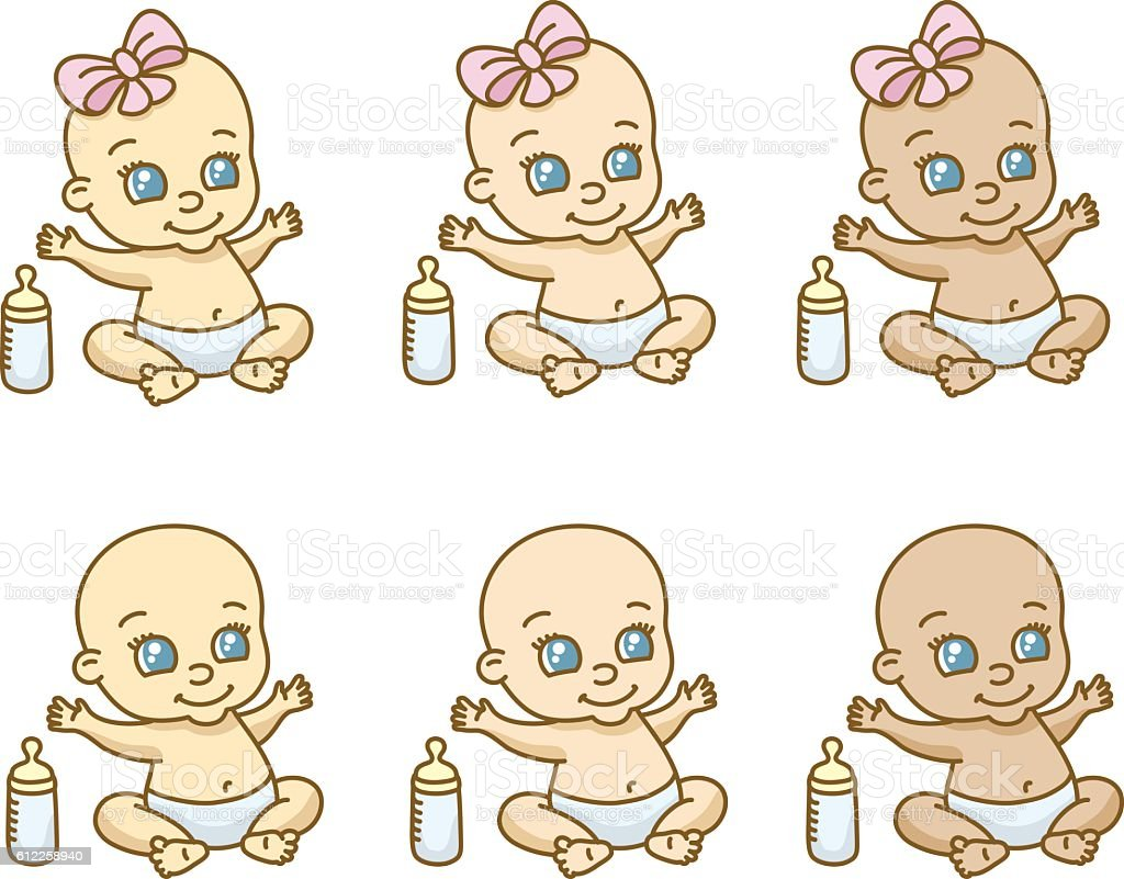 Babies of different ethnicities and gender vector art illustration