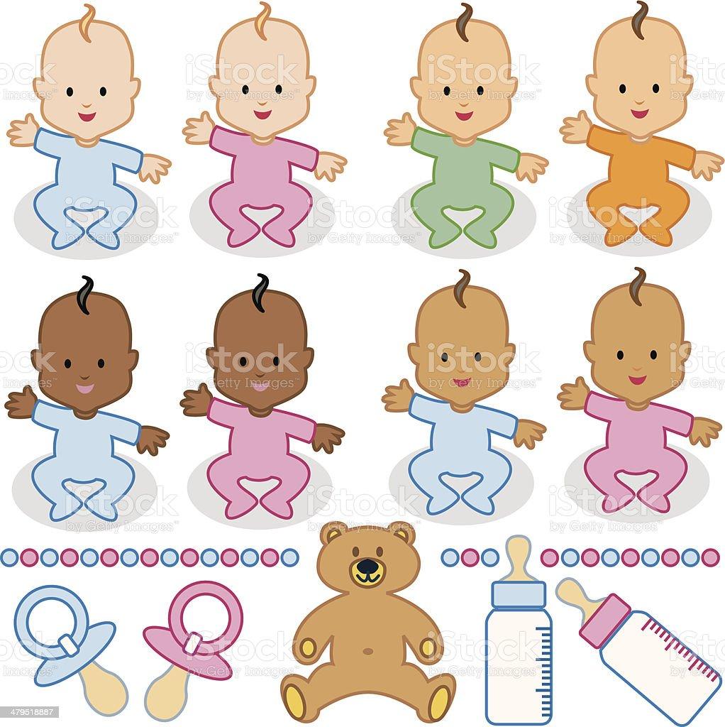 Babies of the world vector art illustration