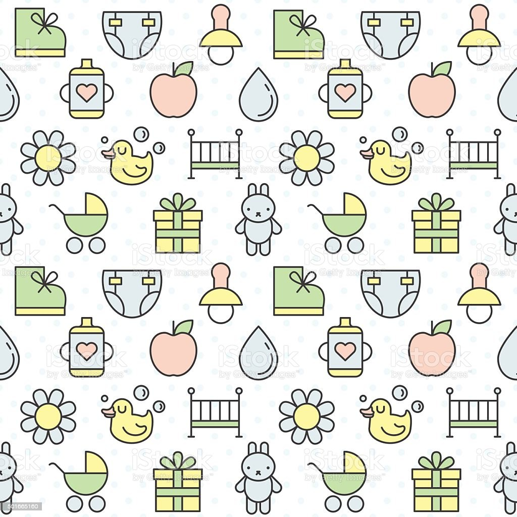 Babies things outline multicolored cute vector seamless pattern. Part two. vector art illustration