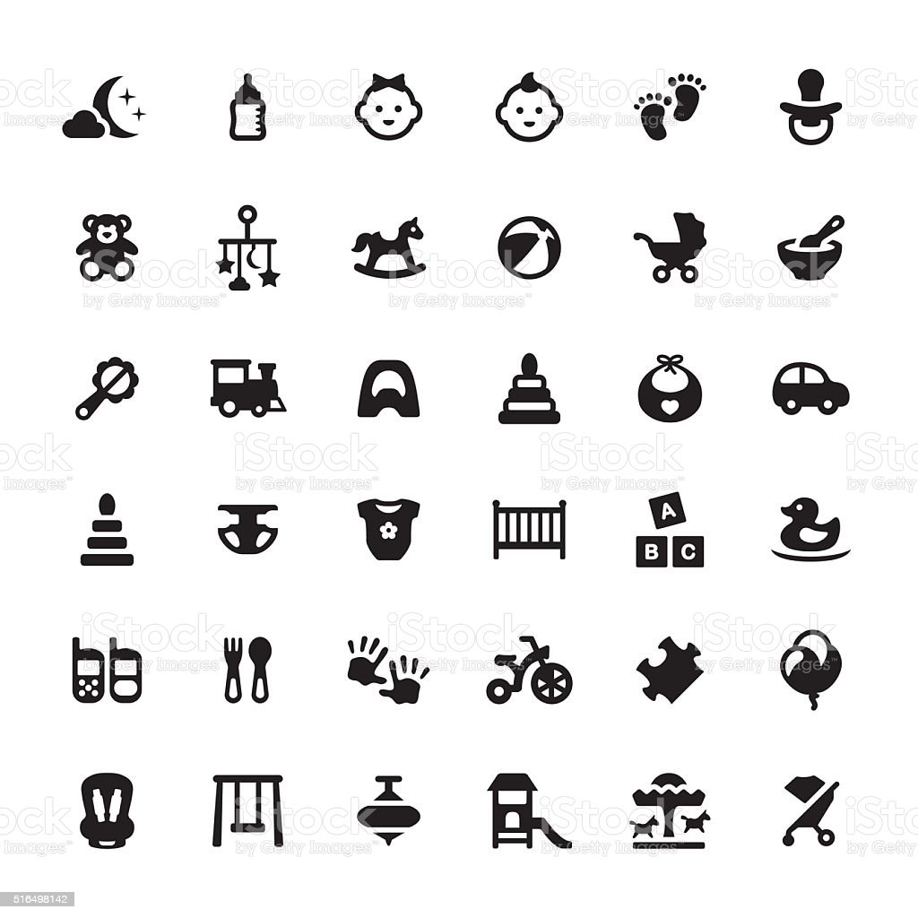 Babies vector symbols and icons vector art illustration