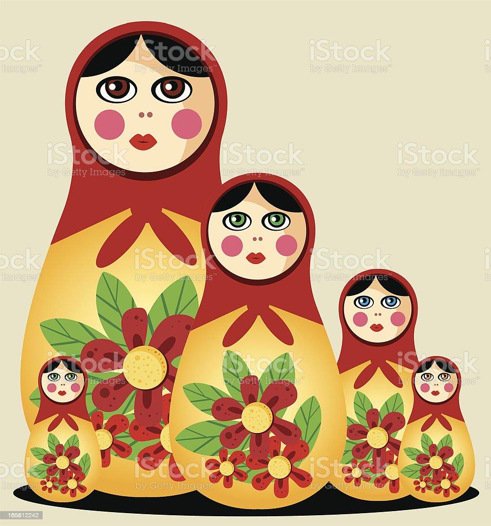 Babushka Dolls royalty-free stock vector art