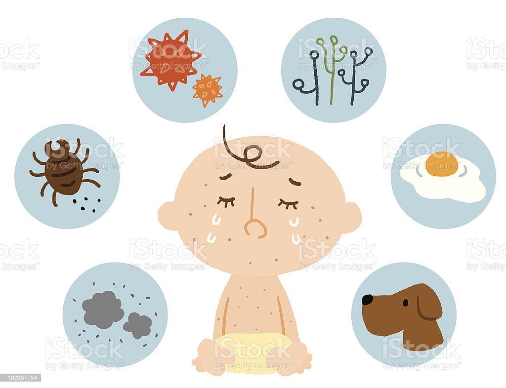 baby allergy vector art illustration