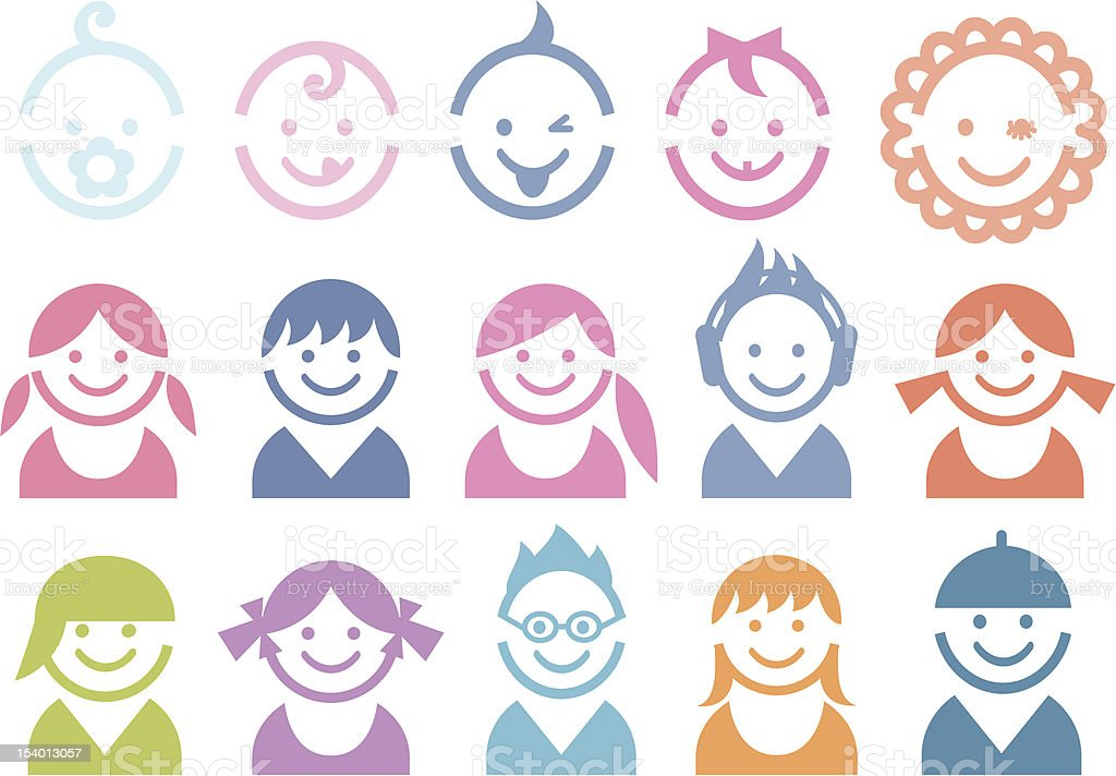 baby and children faces vector art illustration
