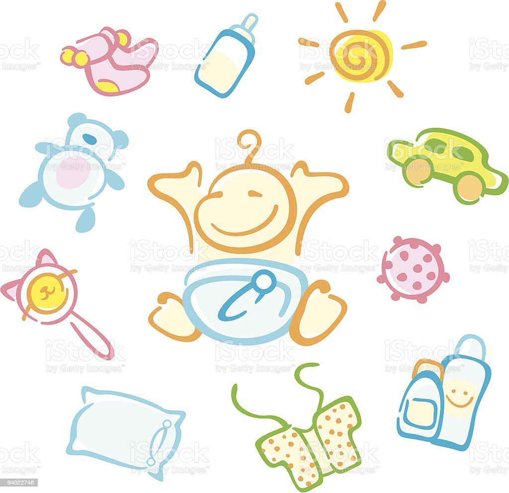 baby and his things royalty-free stock vector art