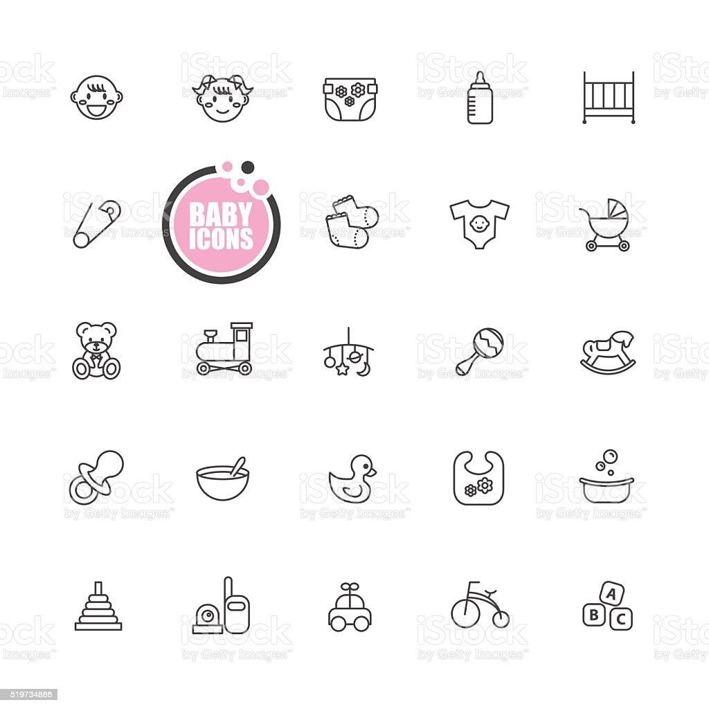 baby and kid  icons vector art illustration