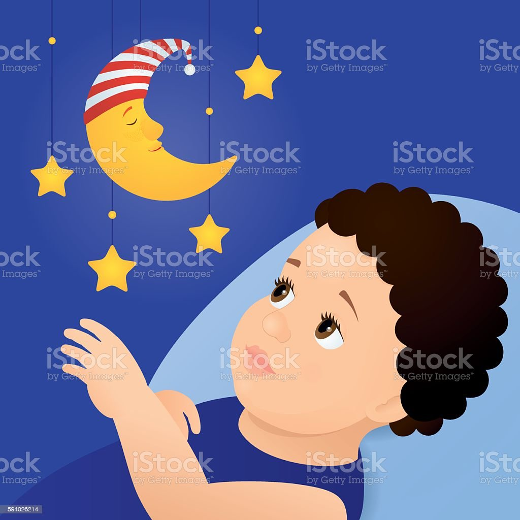 baby and mobile moon toy vector art illustration