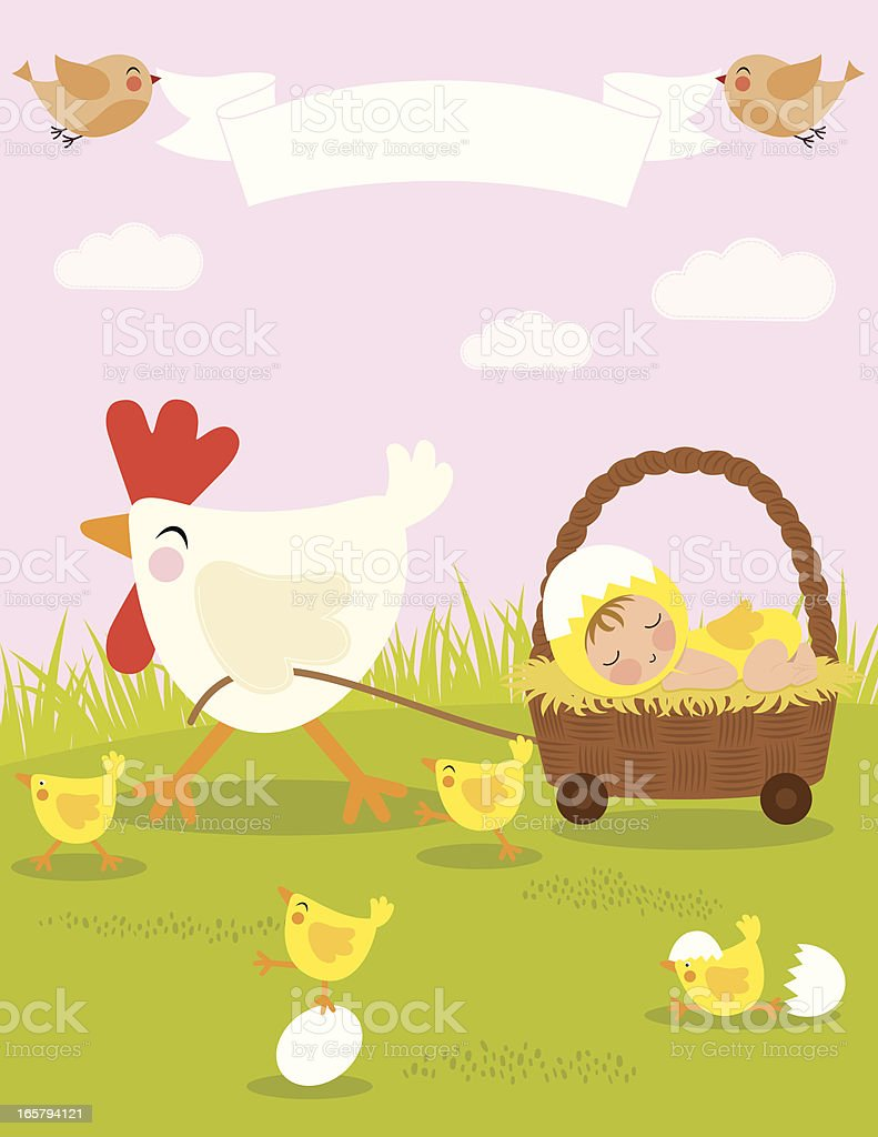 Baby and Mother Hen vector art illustration