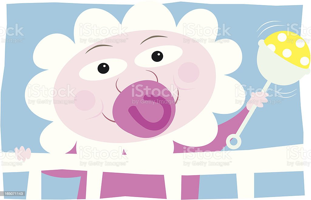 Baby and Rattle royalty-free stock vector art