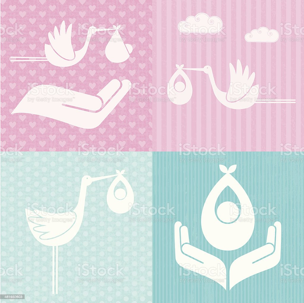 Baby and Stork Icons (Family LIfe Series) vector art illustration