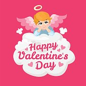 Baby angel vector cartoon character. Happy Valentines Day. wings on