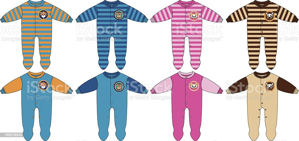 Baby Animal Logo Sleepsuit Plain & Striped vector art illustration