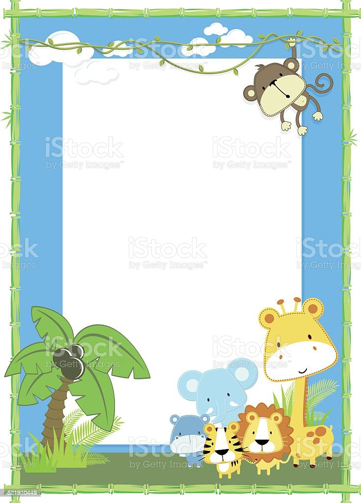 baby animals jungle vector art illustration