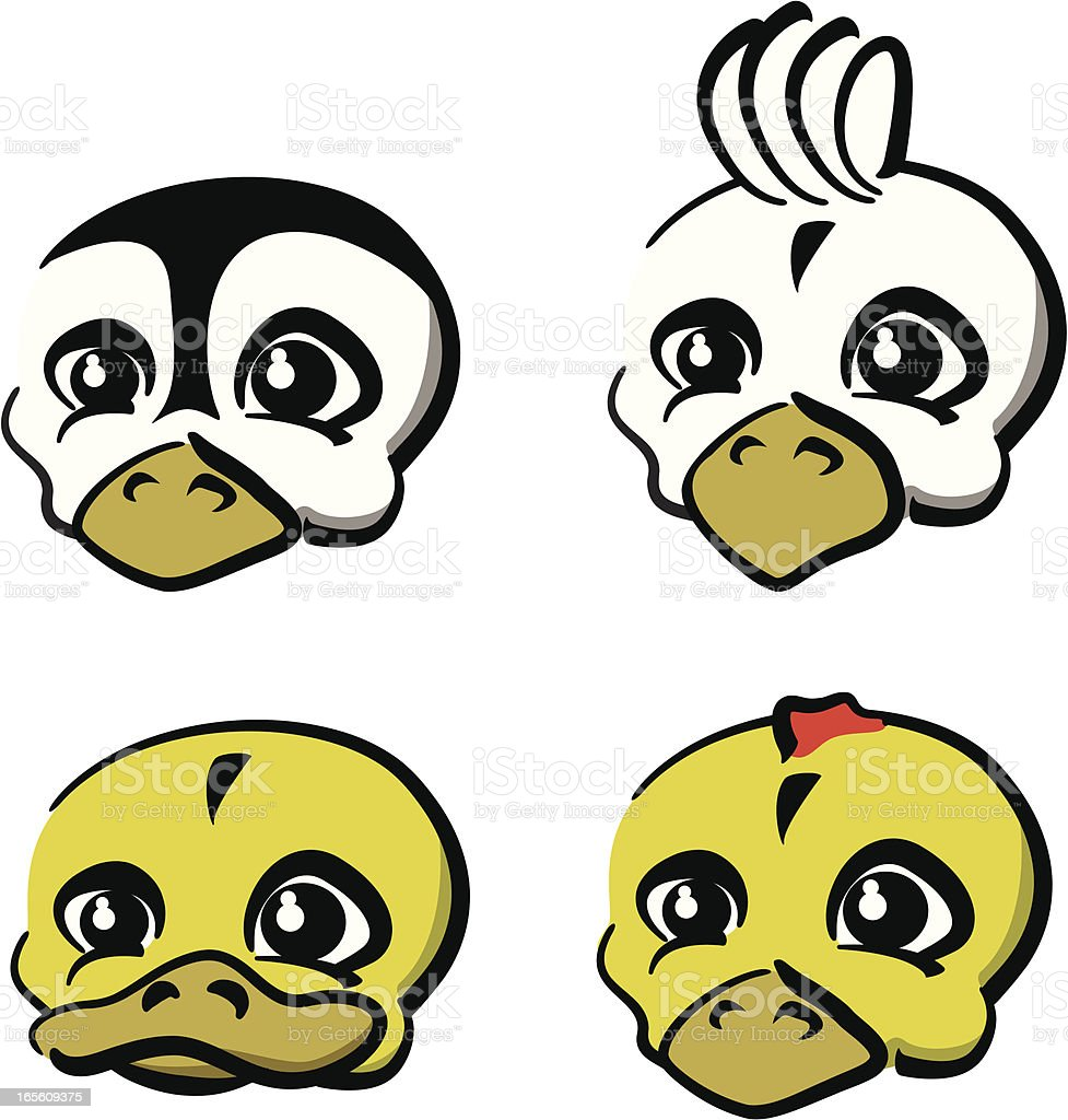 Baby Animals - Pinguine, Duck, Chiken and Cockatoo royalty-free stock vector art