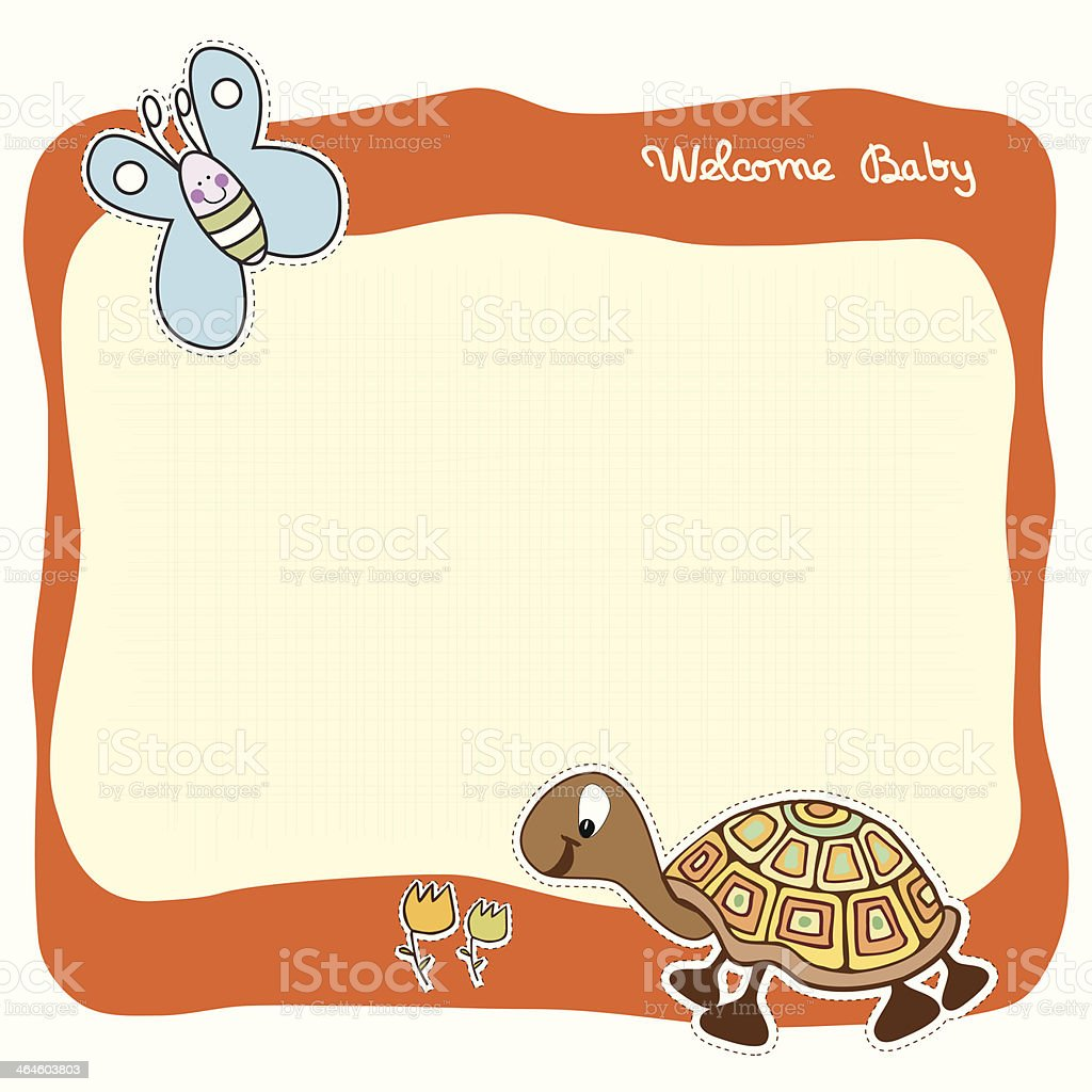 baby announcement card vector art illustration