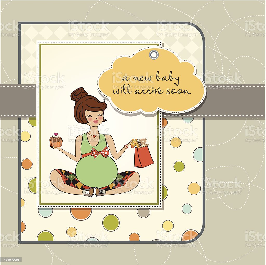 baby announcement card with pregnant woman vector art illustration