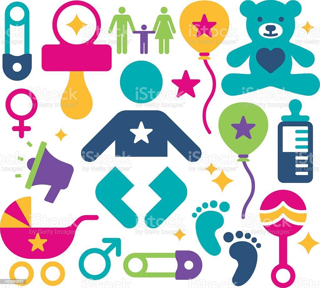 Baby Announcement Symbols vector art illustration