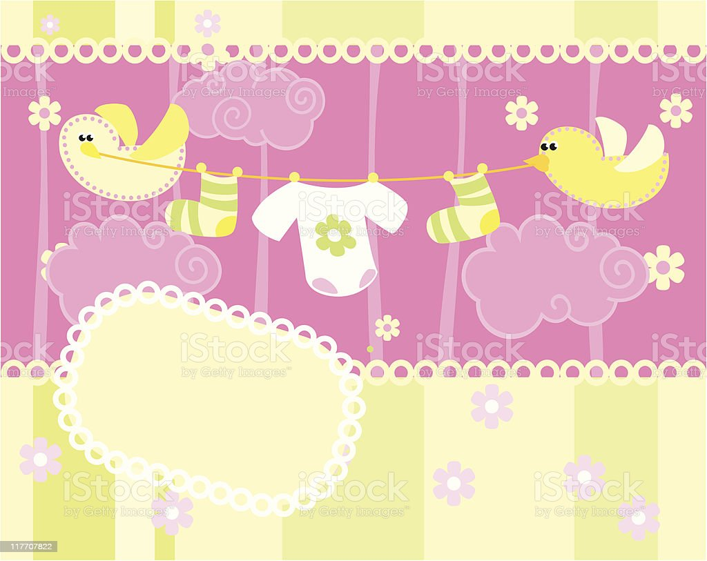 Baby arrival announcement card royalty-free stock vector art
