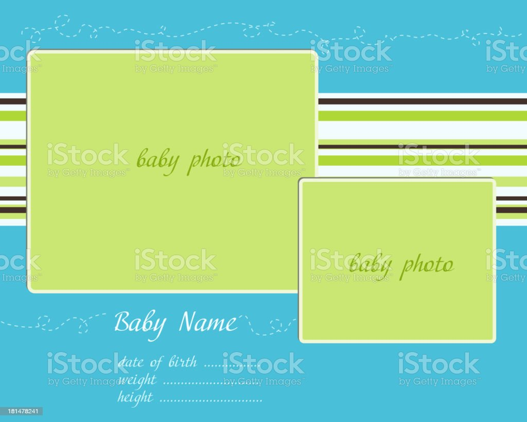 Baby Arrival blue-green Card with Photo Frames royalty-free stock vector art