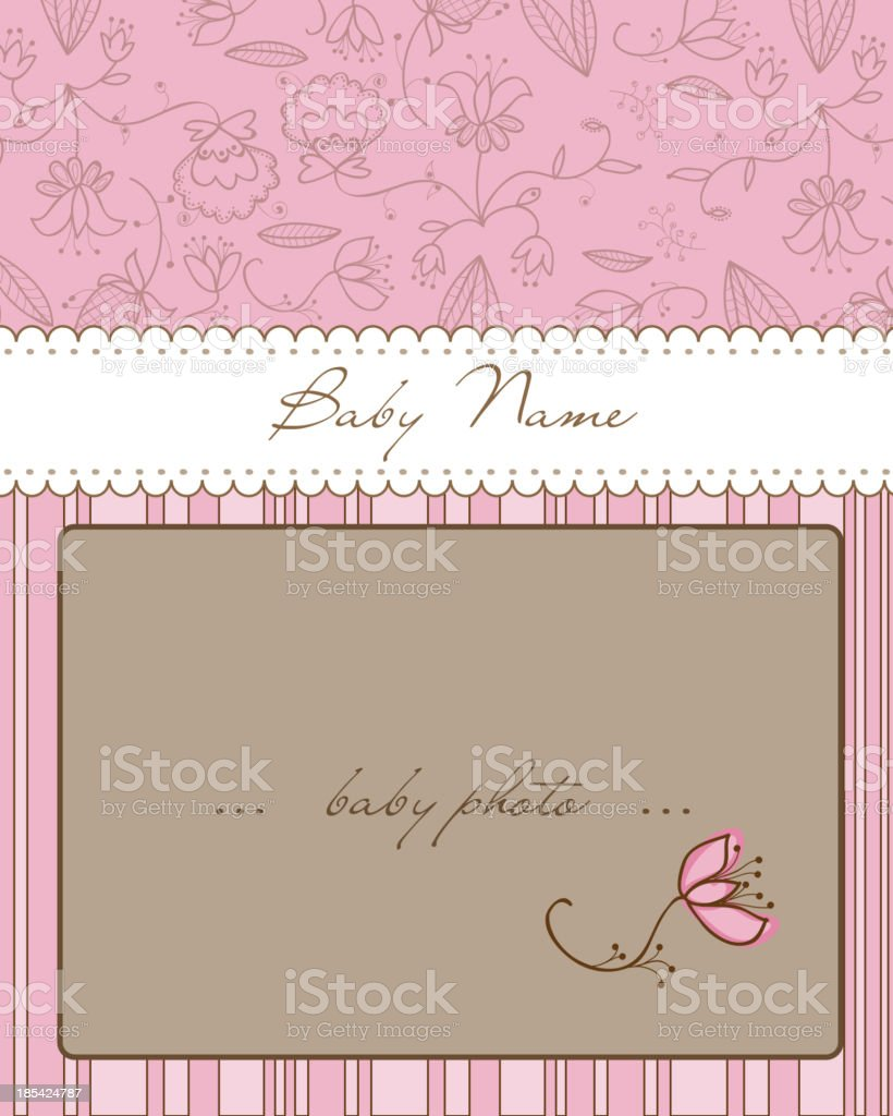Baby Arrival Card with Photo Frame royalty-free stock vector art